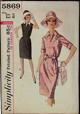60s HAT Summer Dress Simplicity 5869 Size 12 Bust 32 Size Sewing Pattern