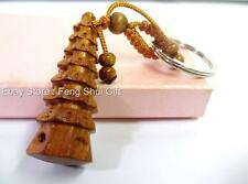 Wood Pagoda Feng Shui Chinese Japanese Lucky Key Chain Ring Money Charm Figurine
