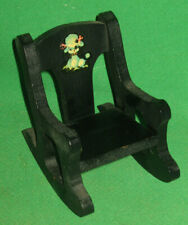 """Vintage 50's Black 7"""" Wood Rocking Chair For Ginny Dolls"""