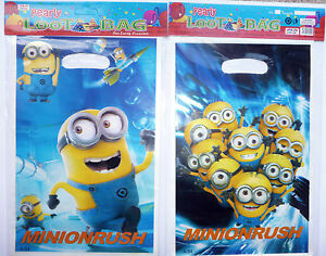 MINIONS PARTY BAGS LOOT BAGS Plastic Despicable Me Pack of 10 bags, NEW