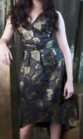 Wolf and Whistle Women's Gold Brocade drop hem Dress, Black/gold SIZE 12
