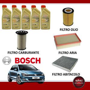 Kit tagliando olio CASTROL EDGE 0W20 5LT 4 FILTRI BOSCH VW GOLF VII 7 1.6 TDI