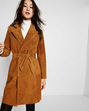 NEW EXPRESS $348 CAMEL GENUINE SUEDE TRENCH COAT SZ S SMALL