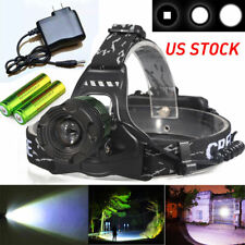 Tactical 8000Lm XM-L T6 Zoomable LED Headlamp Focus Head Light 18650+Charger USA