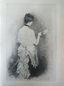 Giuseppe DE NITTIS (1846-1884) Gravure Originale IMPRESSIONNISME ITALIE 1885