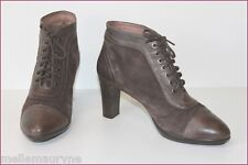 ARGENTA Bottines à lacets Cuir Velours Marron T 39 TTBE
