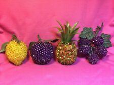 Lot Of 4 Vintage Pieces Of Push Pin Fruit - Pineapple - Lemon - Plum - Grapes