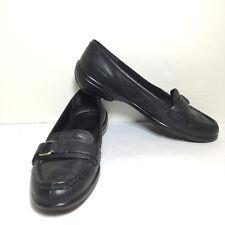 Easy Spirit Black Leather Moc Apron Horse Bit Loafers Flats Size 7 M