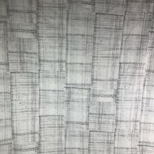 West Elm Curtain Panel 48 x 96 ONE Off White & Gray Crosshatch Tab Top