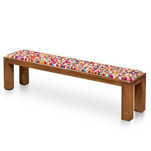 Wool Bench Mat - Felt Pom Pom Seat Pad - Handmade Multicolor Felt Cushion