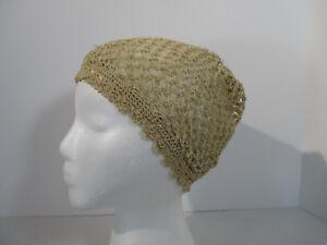 Cap Crochet Boho Hat Antique Sleeping Bonnet Lined Victorian Costume Reinactment