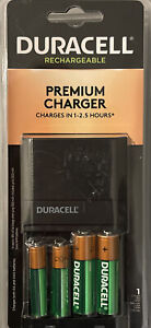 DURACELL RECHARGEABLE ION SPEED 4000BATTERY PREMIUM CHARGER 2 AA 2 AAA BATTERIES