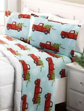 NEW Red Truck Holiday Truck Cozy King Six Fleece Sheet Set Christmas Winter Blue