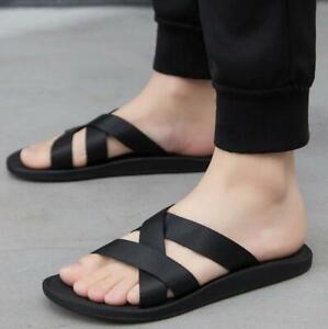Mens Beach Non-slip Slip On Slippers Flats Casual Sandals Shoes Outwear Korean