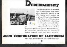 STANDARD AIR LINES 1929 SUPER FOKKER TRI MOTORS LOS ANGELES-EL PASO-TUCSON AD