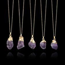 Chic Amethyst Crystal Stone Chakra Rock Sweater Necklace Quartz Pendant Jewelry