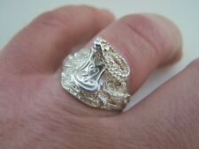 SUPERB HEAVY 925 SOLID STERLING SILVER SADDLE SIGNET RING SIZE W GOTH BIKER RARE