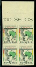 BRAZIL #C49v 1.20cr Airmail IMPERF Block of 4 ERROR, og, NH, VF