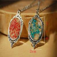Natural Real Dried Flower Glass Pendant Necklace Women Jewelry Gift W