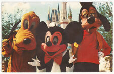 Disney World Mickey Mouse Pluto & Goofy Magic Kingdom Vintage Postcard #894