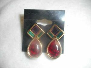 Signed Swan Swarovski gold pl red green purple crystal dangle pierced earrings