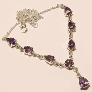 10.60Gm 925 Solid Sterling Silver Natural Amethyst Cut Necklaces 18.50 Inch i317