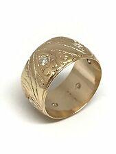 Alliance ancienne ciselée à la main , or rose 18 carats et diamants , taille 51