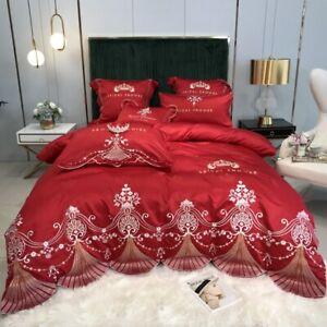 4pcs Bedding set Luxury Cotton satin lace Duvet cover Flat sheet 2 Pillow shames