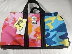 HERSCHEL SUPPLY CO x Andy Warhol Novel Duffle Bag Pink/Blue Camo W/ Notebook NEW