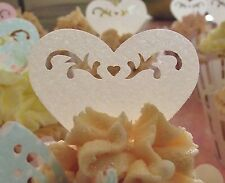 Ivory Heart Cake Decorations - Edible Wafer Stand Up Hearts - Wedding Cupcakes