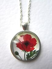 High Quality Red Poppy Design Silver Pendant Glass Necklace New in Gift Bag
