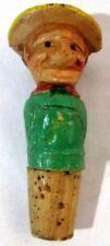 Vintage Anri Folk Art Hand Carved Cork Stopper, Man W/ Hat Figurine, Wooden