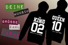 THE KING & HIS QUEEN Pärchen Pullover Mit Wunschzahl und Datum Doppelpack❤️NEW