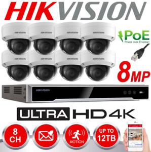HIKVISION NVR 4CH 8CH 16CH DOME CCTV SYSTEM UHD 4K 8MP POE NETWORK CAMERA KIT UK
