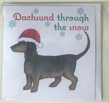 Dachshund Christmas Greeting Card Sausage Weiner Dog Handmade 'Dachshund through