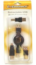 PPA Retractable USB multi connector Cable with 3 Adapter Tips - NEW