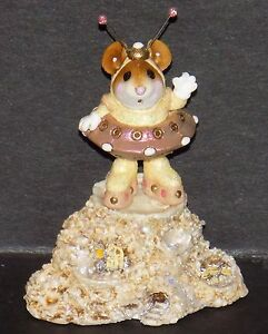 """NMIB WEE FOREST FOLK 2003 LTD ED EVENT PIECE """"GREETINGS"""" MARTIAN MOUSE YELLOW"""