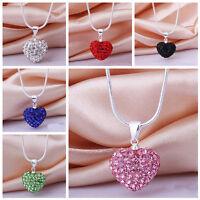 Mode Frauen Anhänger Schmuck Kristall Herz Silber Überzogene Halskette + Kette ^