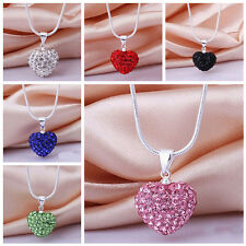 Fashion Women Pendant Jewelry Crystal Heart Silver Plated Necklace+Chain QA