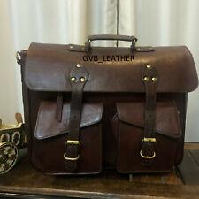 """16"""" Wide Men's Leather Vintage Travel Case Laptop Messenger Handmade Bag Satchel"""
