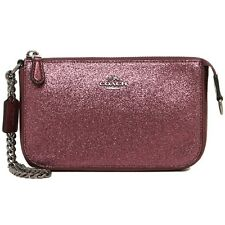 NWT $175 Coach Large Handbag Wristlet Glitter Fabric Cherry Chain Handbag 64591