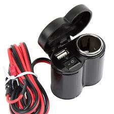 12V USB Cigarette Lighter Waterproof Power Port Outlet Socket Kit For ATV Boat