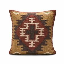 "Indian Vintage Kilim Hind Woven Ethnic Pillow Case Throw 18"" Jute Cushion cover"