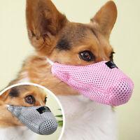 Bozal de Nylon Respirable Ajustable para perros Pequeño Adiestramiento Rosa Gris