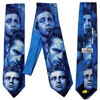 Ralph Marlin Men's Necktie Vtg 1991 Retro Faces of James Dean Skinny NOS Tie