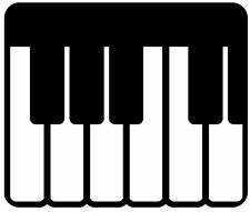 This is a piano, music, keys, instrument,  die cut vinyl sticker or decal.