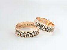 Rose Gold Plated Actual  Fingerprint Ring- Handwriting Rings- Wedding Rings