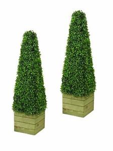 BISEN 2x Pyramid Cone Tree Artificial Topiary Plant 3 feet wood Pot In-Outdoor