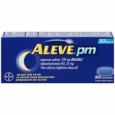 2 Pack Aleve PM Pain Reliever Nighttime Sleep Aid Caplets 80 Count Each