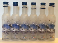 Six Grey Goose French Vodka Bottles Glass Empty - mini 50ml